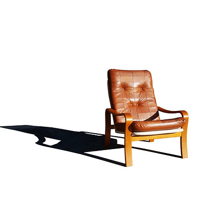 Swedish mid-century modern - MCM plywood and leather patchwork lounge chair
