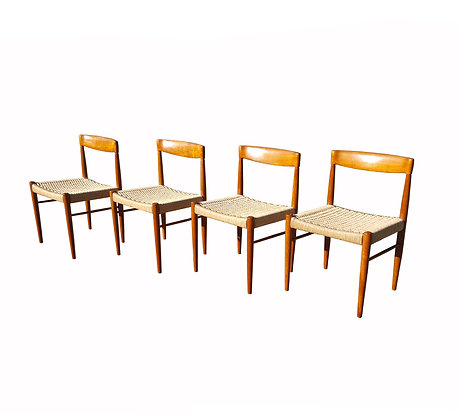 Danish mid century modern H.W. Klein for Bramin Teak Dining Room Chairs, Set of