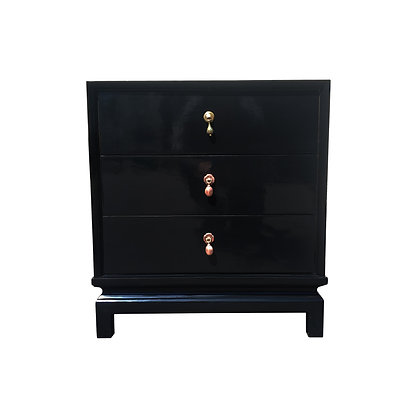 An American of Martinsville black lacquer nightstand / small dresser