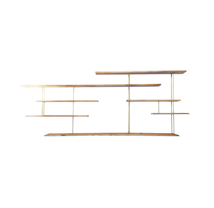 French mid century modern oak and brass bookcase / wall unit