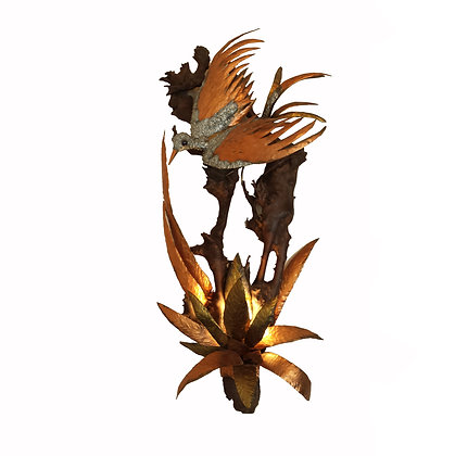 Large Brass, copper, wood and lead Bird sconce