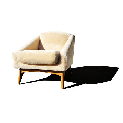 A mid-century modern - MCM - lambswool lounge chair by Krohler