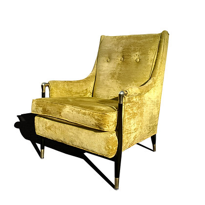 A MCM black lacquer and gold lounge chair in the manner of Giuseppe Scapinelli
