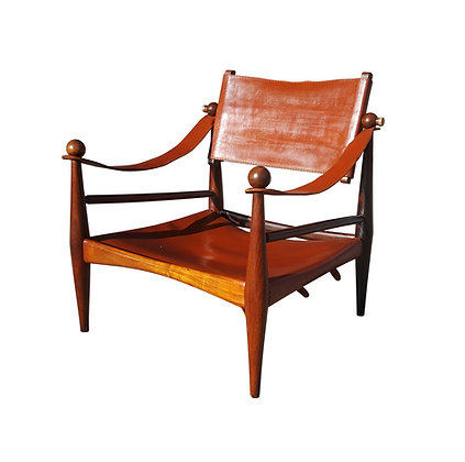 Attributed to Jorge Zalszupin mid-century Brazilian rosewood Safari lounge chair