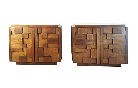 Brutalist Nightstands by Paul Evans - A Pair