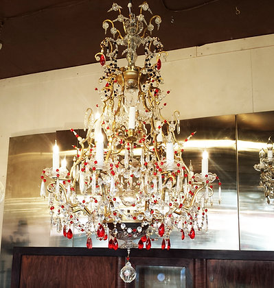 Large bronze 1950's crystal and pearls unsual chandelier
