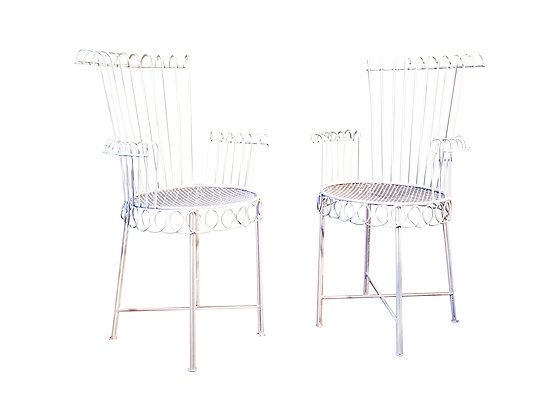 2 iron garden / interior armchairs by Mathieu Mategot model Cap d'Ail