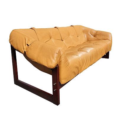 A Percival Lafer mid-century modern Brazilian leather Sofa model MP-091