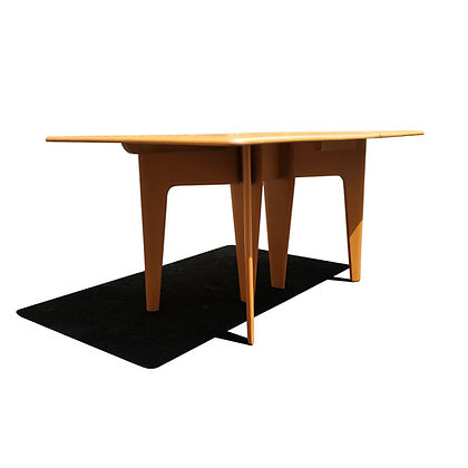 Heywood Wakefield Mid-century modern blonde wood drop-leaf dining table