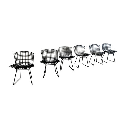 A set of six mid-century modern Bertoia for Knoll wire dining chairs.