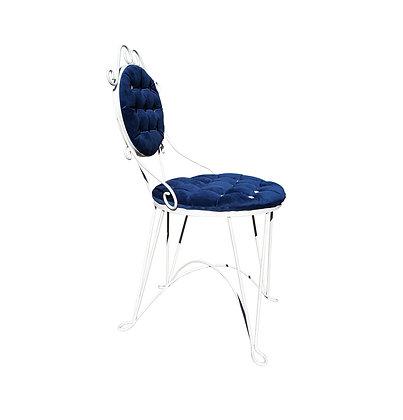 Antique Iron blue velvet vanity chair 1940's style