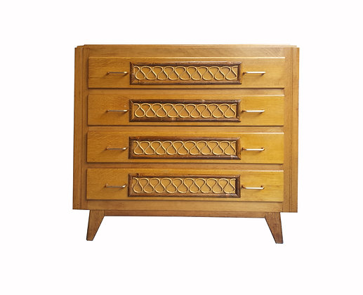 French mid century modern 1950's oak and rattan chest of drawers / dresser