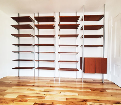 A mid century modern wall unit bookshelves system
