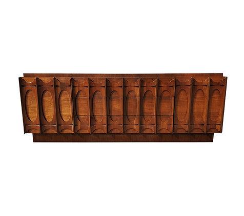 Mid Century Brutalist Vintage Walnut Dresser / sideboard by Tobago