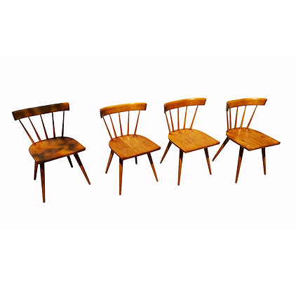 Mid century Paul Mccobb set of 4 dining maple spindle back chairs planner group