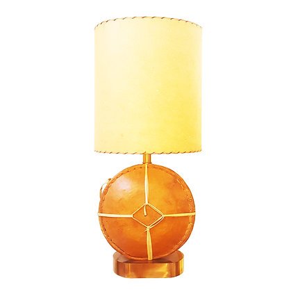 A Moroccan leather flask / bottle table lamp