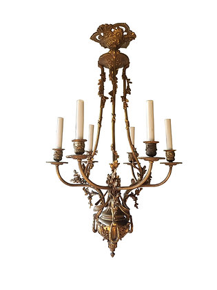 French antique Louis XVI bronze chandelier