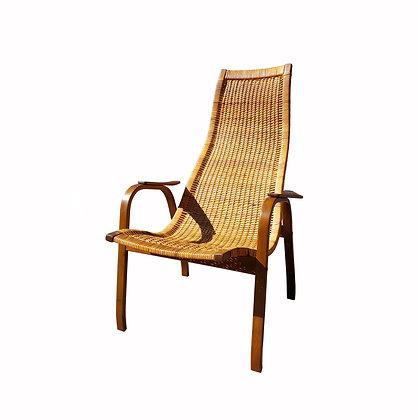 Scandinavian mid century modern Yngve Ekström (1913-1988) Kurva Caned Lounge Cha