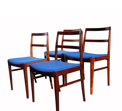 A set of 4mid century modern rosewood Danish chairs