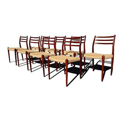 Mid century modern MCM danish Moller 78 dining chairs