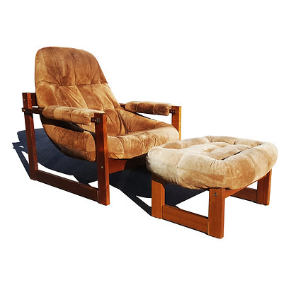 Brazilian space age mid-century Earth lounge chair and ottoman by Percival Lafer