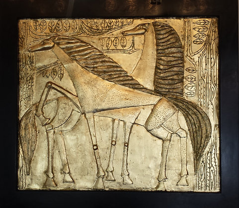 Large French terracotta gilt horses Bas relief circa 1940