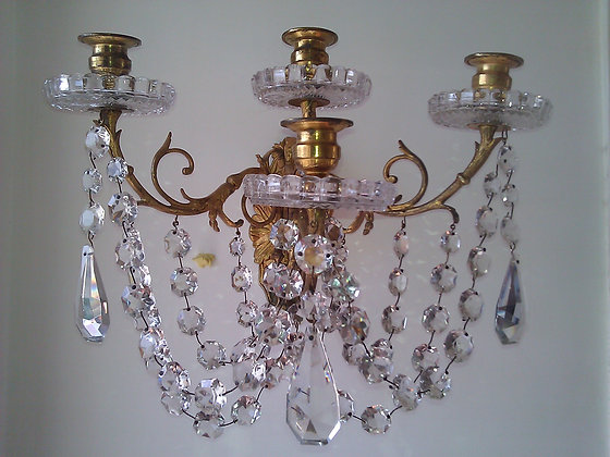 French 19th century Bronze and crystal sconces