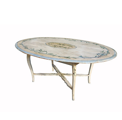 19th century hand painted antique Italian dining table - flower pattern