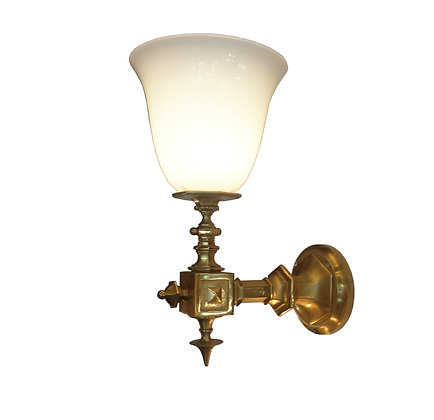 A pair of Large French Early 20th century bronze and opaline sconce