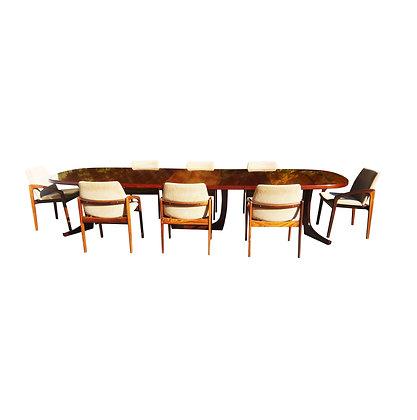 Monumental rosewood Danish modern Kai Kristiansen conference table / dining set