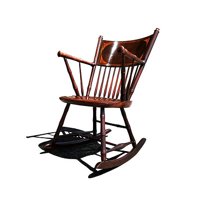 An antique Federal style faux bamboo rocking chair