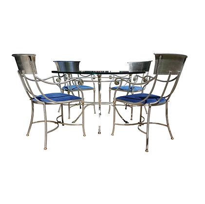 Attributed to Maison Jansen bronze and iron Breakfast table dining set