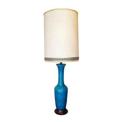 Large blue glazed ceramic lamp circa 1960's