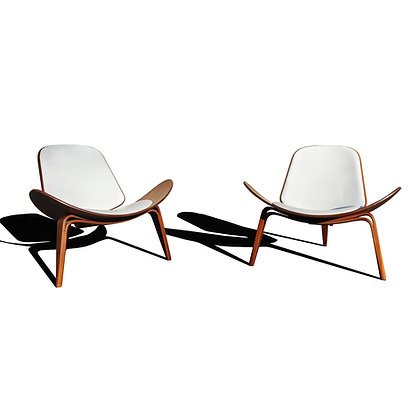 A pair Danish modern CH7 lounge chairs by Hans Wegner for Carl Hansen and son