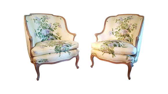 French Louis XV Floral Armchairs - A Pair