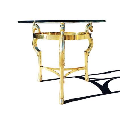 Hollywood Regency Brass horse Side Table in the manner of Maison Jansen