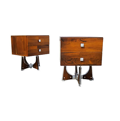 A pair of mid-century modern - Brutalist - space age nightstands - side tables