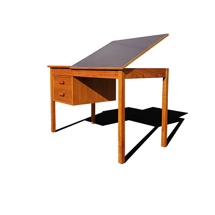 A Danish - mid-century modern teak wood desk