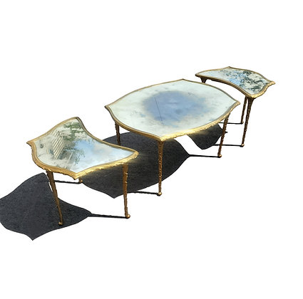 French Mid-century Bronze Louis XV 3 Parts Coffee Table by Maison Baguès