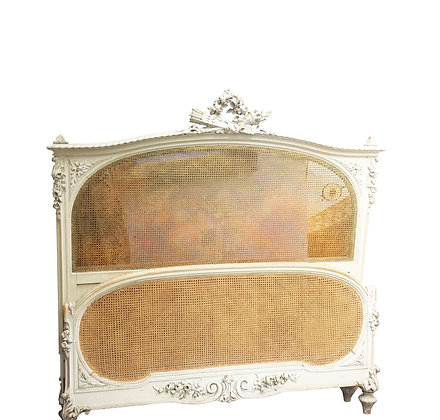 Louis XVI hand carved and canned late 19th century Bed / headboard