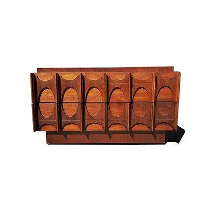 A mid-century modern Brutalist low dresser - nightstand - side table