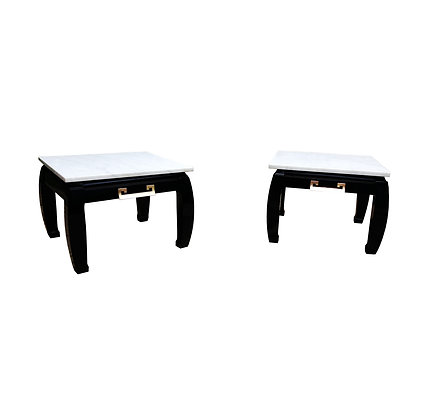 A pair of Black lacquered Chinese inspired white marble top night stands / side