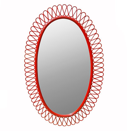 A French 1950 red lacquer iron Jean Royere style oval mirror