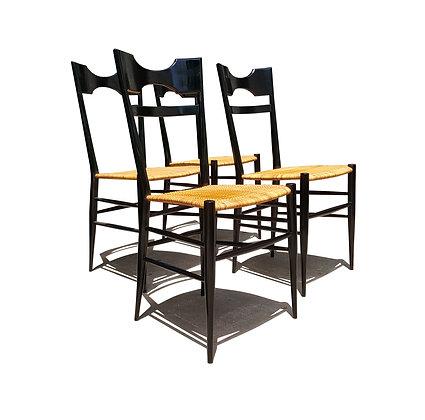 A set of 4 Italian mid-century modern Chiavari dining chair attributed to Gio Po