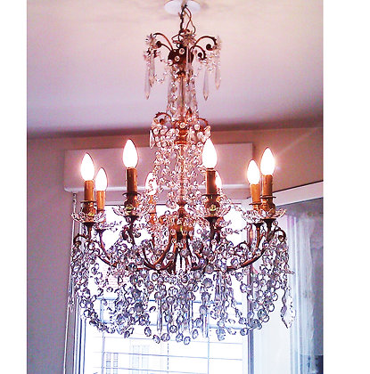 French 19th century bronze and Baccarat crystal 8 lights chandelier