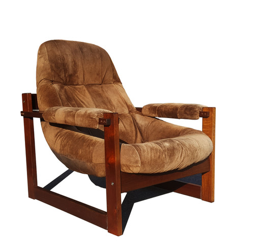 Brazilian Space Age Mid Century Modern Earth Lounge Chair And Ottoman By  Perciva