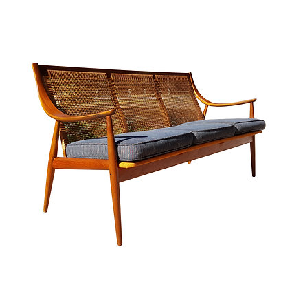Peter Hvidt & Orla Molgaard teak sofa with cane back designed for France & Son