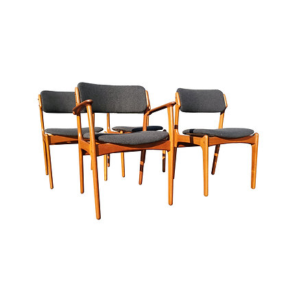 A set of 4 Erik Buch danish mid-century modern dining chairs model 49