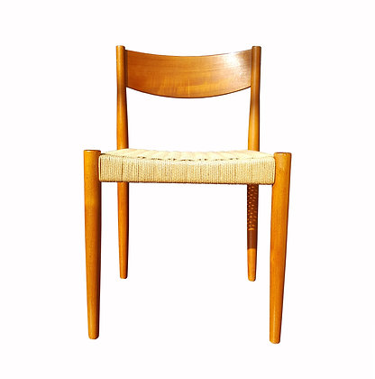 Scandinavian mid century modern single dining / office teak and rope chair