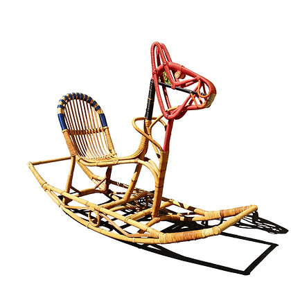 A danish modern Rattan rocking horse by Nissen